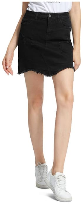 London Rag Solid Straight skirt Mini Skirt - Black