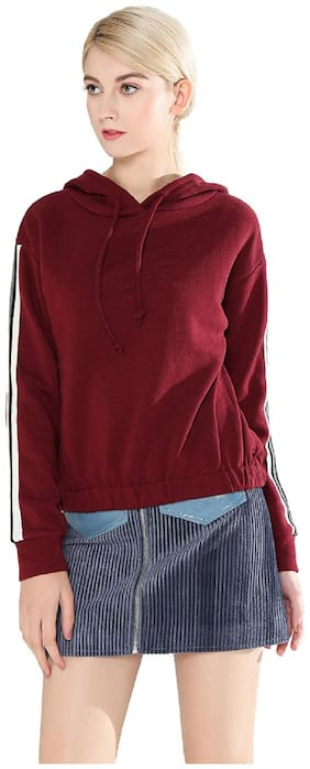London Rag Blended Solid Sweatshirt For Women Color Maroon