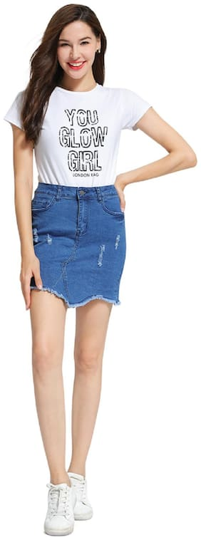 London Rag Solid Straight skirt Mini Skirt - Blue