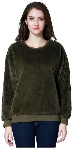 London Rag Solid Round Neck Casual Women's Green Sweater