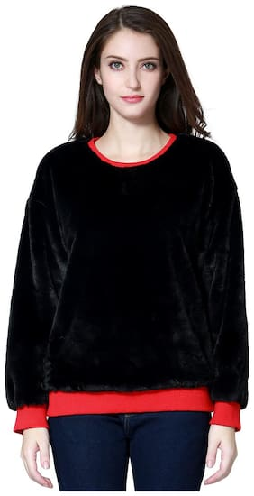 London Rag Solid Round Neck Casual Women's Black Sweater