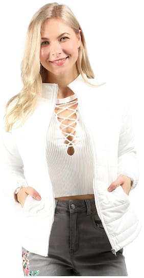 London Rag Women Solid Quilted Jacket - White