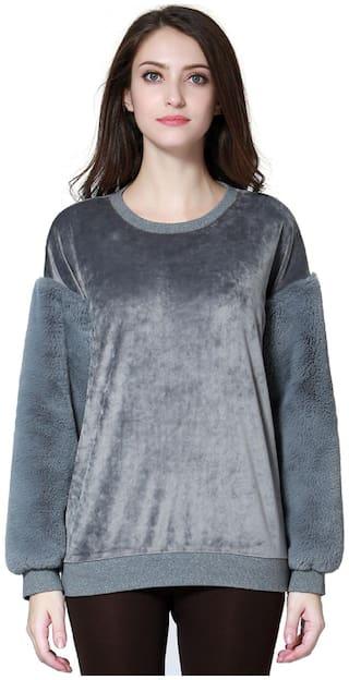 London Rag Womens Grey Long Sleeve Sequin Knit Sweater
