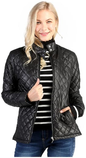 London Rag Women Solid Quilted Jacket - Black