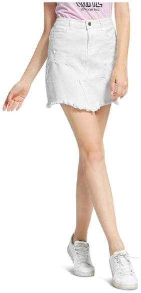 London Rag Solid Straight skirt Mini Skirt - White