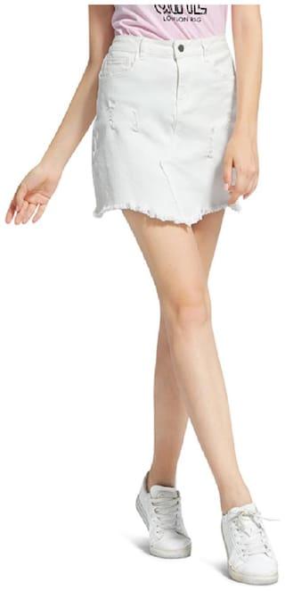 London Rag Solid Straight skirt Mini Skirt - White