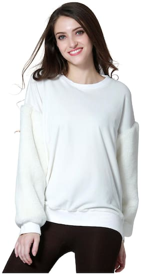 London Rag Womens White Long Sleeve Sequin Knit Sweater