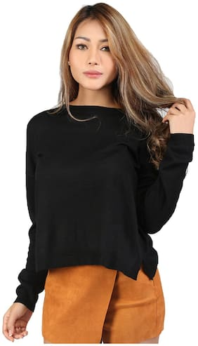 London Rag Women Solid Sweatshirt - Black