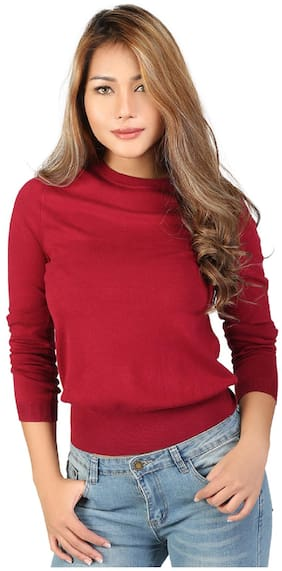 London Rag Women Solid Sweatshirt - Maroon