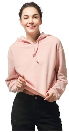 London Rag Women Solid Hoodie - Pink