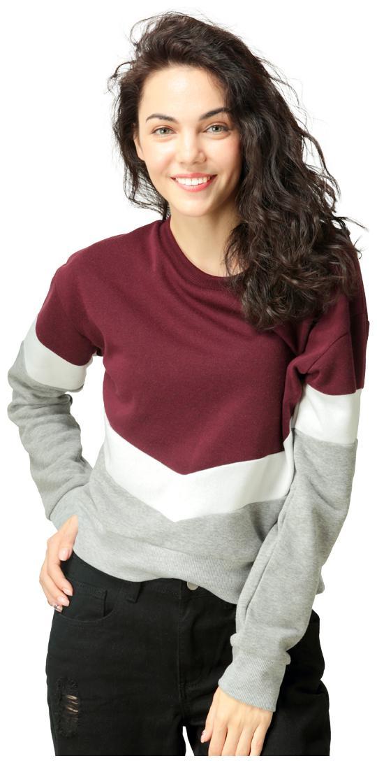 London Rag Women Solid Full Sleeves Sweatshirt Color Multi