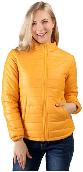 London Rag Women Solid Quilted Jacket - Yellow
