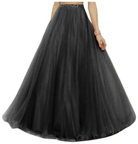KITTY FASHION Solid Flared skirt Maxi Skirt - Black