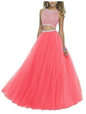 KITTY FASHION Solid Flared Skirt Maxi Skirt - Pink