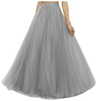 KITTY FASHION Solid Flared skirt Maxi Skirt - Grey