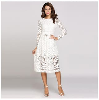 Long Sleeve Round Collar Hollow Out Lace Solid Going Out Dress