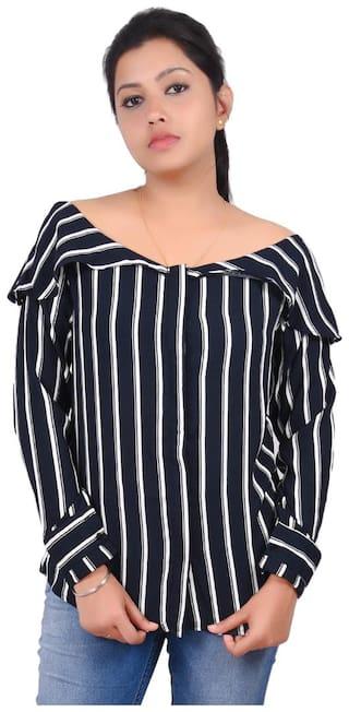 RIVI Women Striped Regular top - Blue