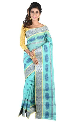Loom&Crafts Blue Bengal Cotton Saree