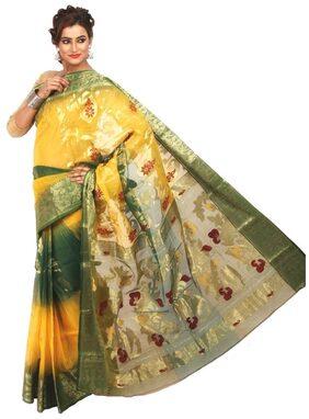 LoomsVilla - Bengal Handloom Tant Silk Saree - Multi Colour with Floral Motifs