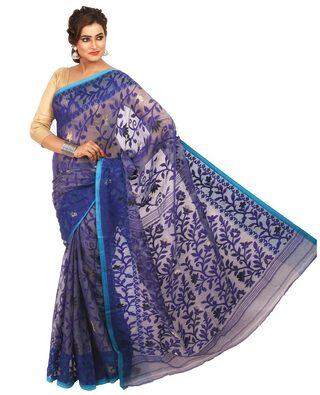 LOOMSVILLA Blended Jamdani Block Print Work Saree - Blue