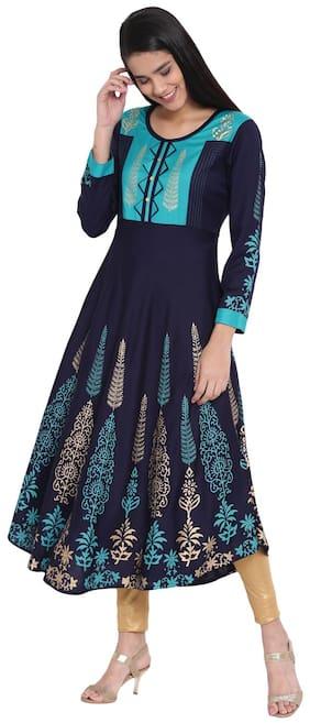 LOPA Women Blue & Turquoise Printed Anarkali Kurta