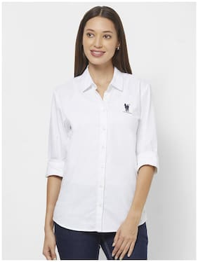 LOS POLISTAS Women White Solid Regular Fit Shirt
