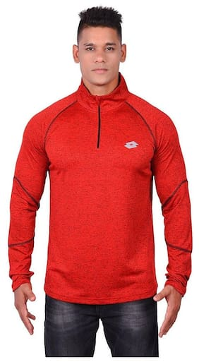 Lotto Men High Neck Sports T-Shirt - Red