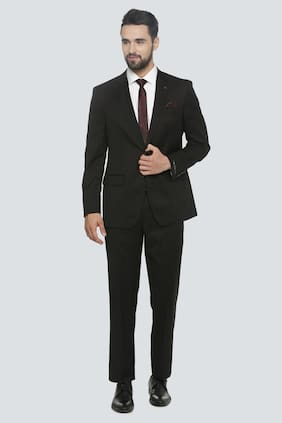 Louis Philippe Men Blended Regular Fit Suit - Black