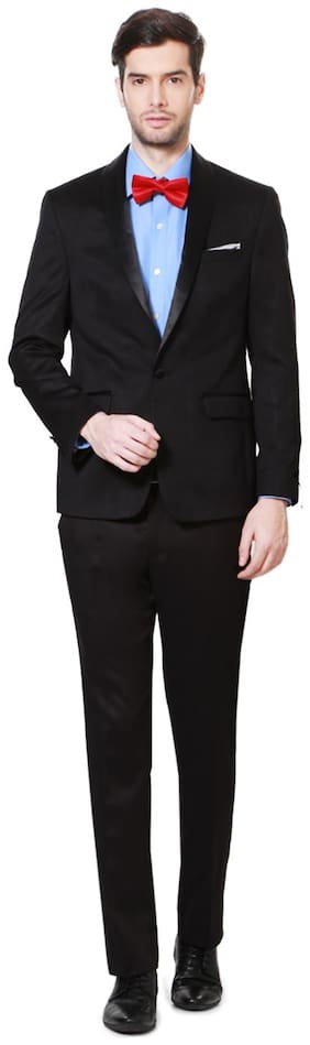 Louis Philippe Men Viscose rayon Super slim fit Suit - Black