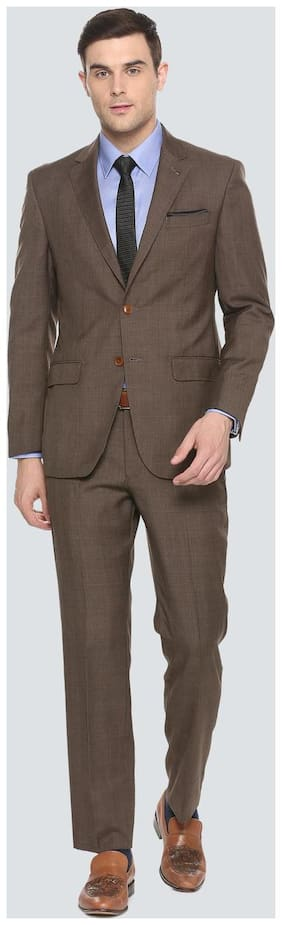 Louis Philippe Men Blended Regular fit Suit - Brown