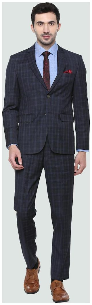 Louis Philippe Men Blended Slim fit Suit - Blue