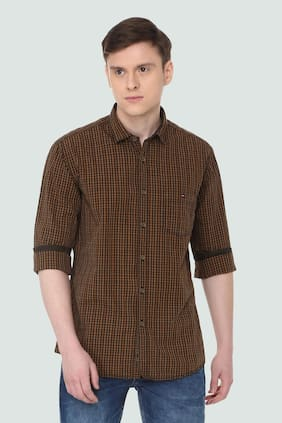 Louis Philippe Men Slim Fit Casual shirt - Brown