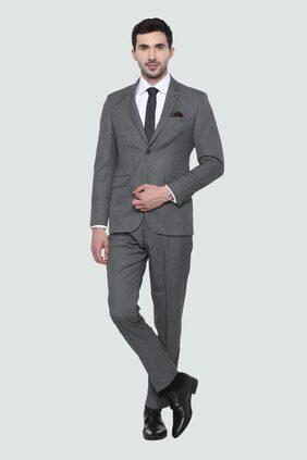 Louis Philippe Men Blended Slim Fit Suit - Grey
