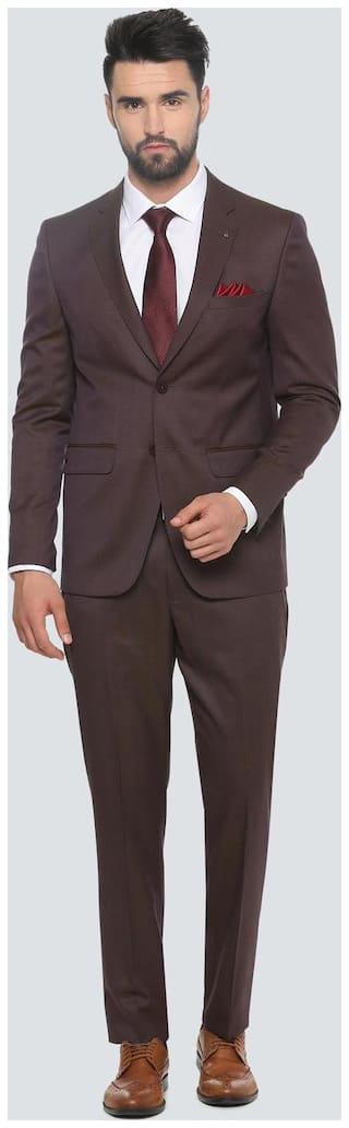 Louis Philippe Maroon Two Piece Suit