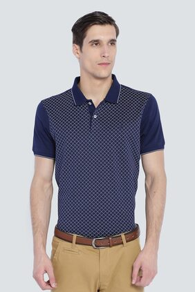 Louis Philippe Men Regular fit Polo neck Printed T-Shirt - Navy blue