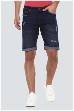 Men Textured Denim Shorts