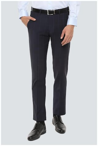 Louis Philippe Men Checked Slim Fit Formal Trouser - Blue