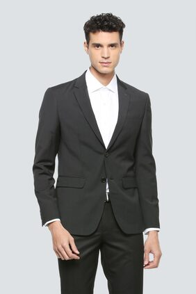 Louis Philippe Men Blended Slim Fit Blazer - Black