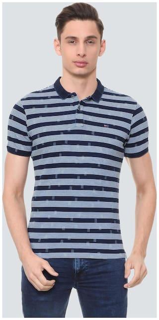 Louis Philippe Men Blue Slim fit Cotton Polo Collar T-Shirt