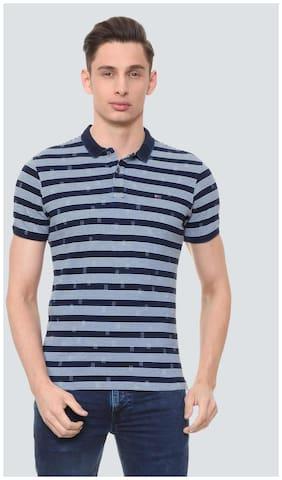 Louis Philippe Men Slim fit Polo neck Striped T-Shirt - Blue
