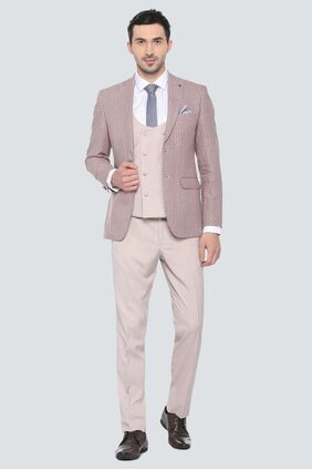 Louis Philippe Men Blended Slim Fit Suit - Beige