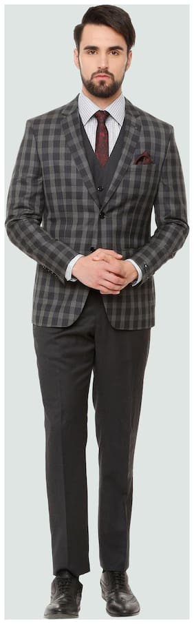 Louis Philippe Men Blended Slim Fit Suit - Grey
