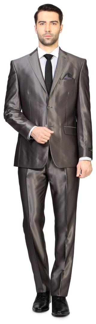 Louis Philippe Men Viscose Rayon Super Slim Fit Suit - Grey