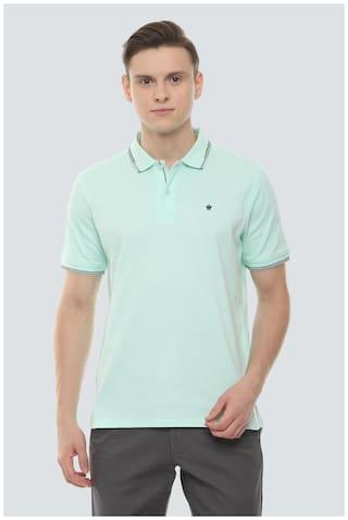 Louis Philippe Men Green Regular fit Cotton Polo Collar T-Shirt