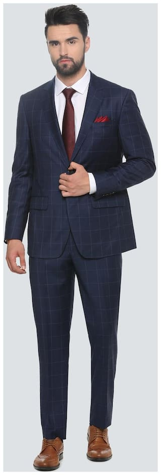 Louis Philippe Men Wool Slim fit Suit - Blue