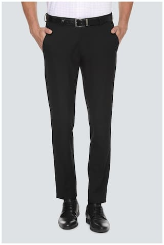Louis Philippe Men Solid Slim Fit Formal Trouser - Black