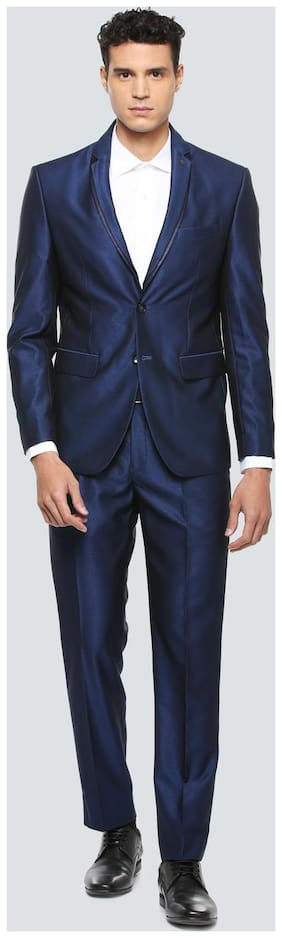 Louis Philippe Men Viscose rayon Slim fit Suit - Blue