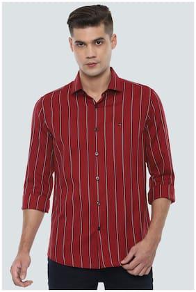 Men Super Slim Fit Vertical Stripes Casual Shirt