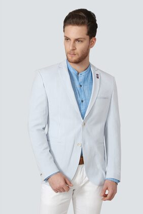 Louis Philippe Men Blended Slim Fit Blazer - Blue