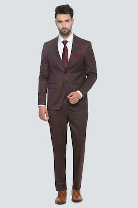 Louis Philippe Men Blended Slim Fit Suit - Maroon